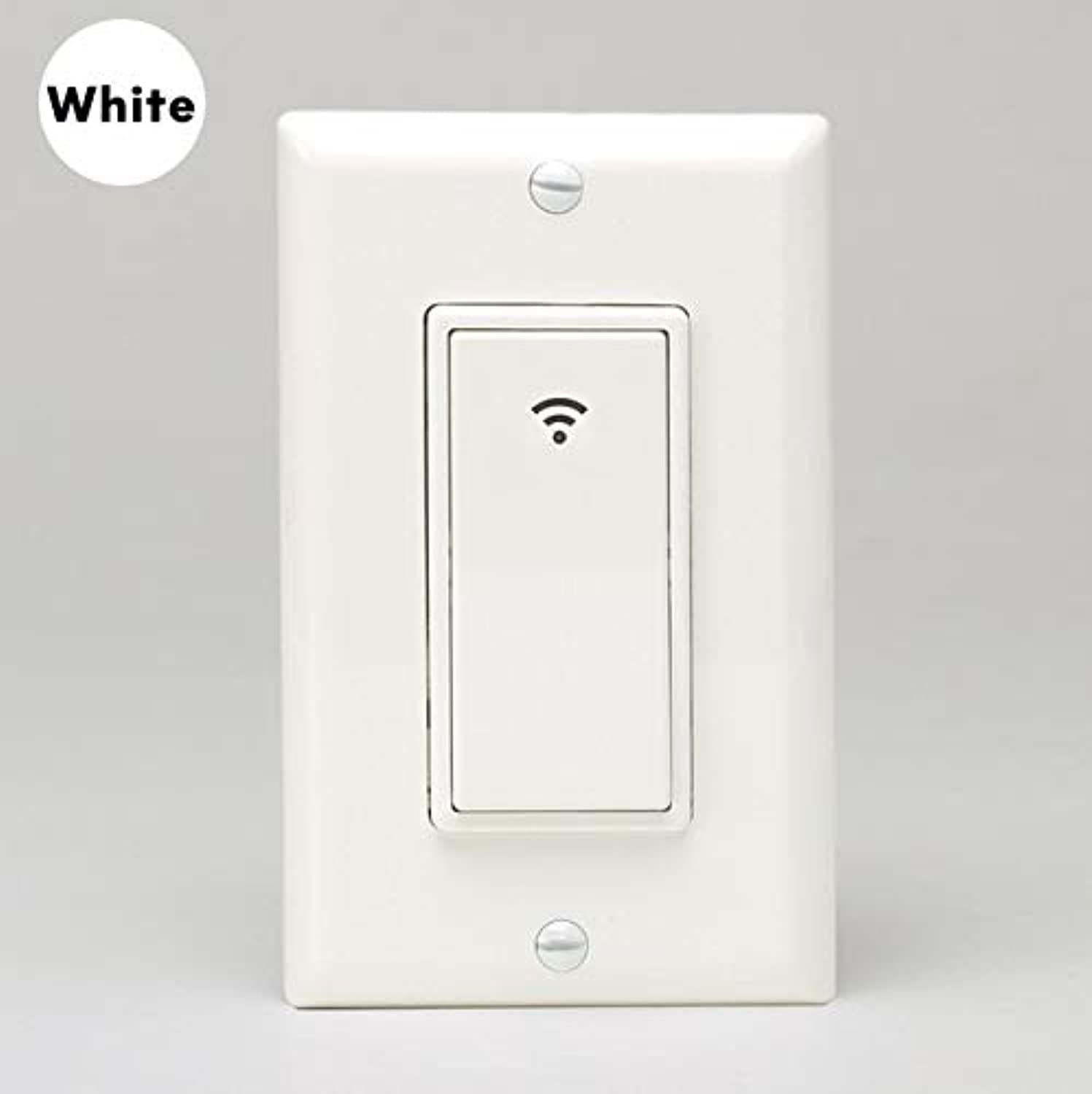 US WiFi Smart Wall Light Switch Mobile APP Voice Control with Alexa Google Home Push Button 10A No Hub Required(color  SS118-White)