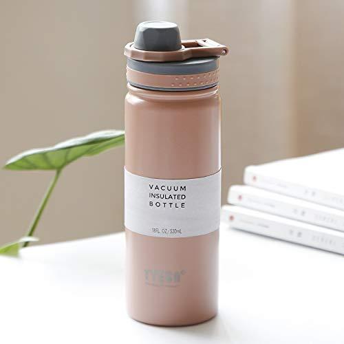 Bayue Thermoskan met vacuüm-geïsoleerde waterfles sport van roestvrij staal met handvat BPA ✮ra Gratuita Fietsen Roze koud 500 ml