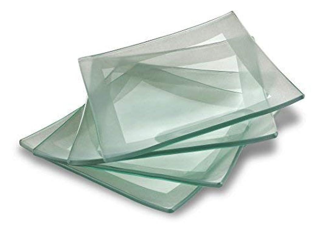 GAC Elegant Designed Tempered Glass Dessert Plates Set of 4 - Unbreakable - Chip Resistant - Oven Proof - Microwave Safe - Dishwasher Safe - Stackable 6 Inch Square (SILVER) Party Plates Cake Plates