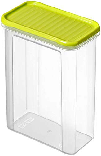 Rotho Domino Vorratsdose 1.5l mit Deckel, Kunststoff (PP) BPA-frei, transparent/grün, 1,5l (16,5 x 9,0 x 19,5 cm)