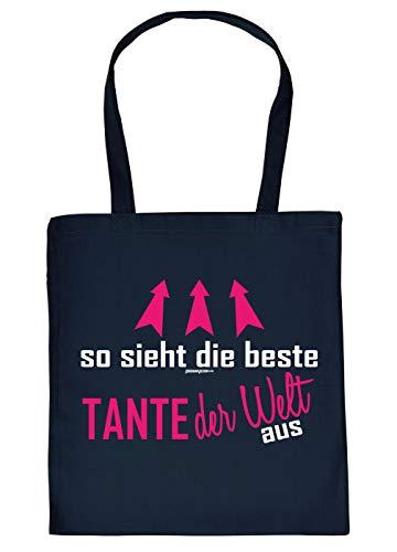 Tante Geschenk-Tasche - Sprüche Baumwolltasche Tante - Nichte - Neffe : so Sieht die Beste Tante der Welt aus - Einkaufstasche Tante - Stoff-Tasche - Farbe: Navyblau