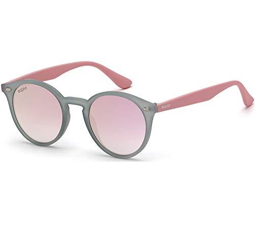 SQUAD Gafas de sol con montura redonda para mujeres y hombres lentes de color y protección UVA y UVB 100% (C1)