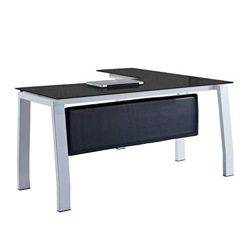 Blake, Mesa de Despacho, Mesa de Oficina o Escritorio, Acabado en Cristal Templado Negro y Blanco, Medidas: 150 cm (Largo) x 70 cm (Ancho) x 74,5 cm (Alto)