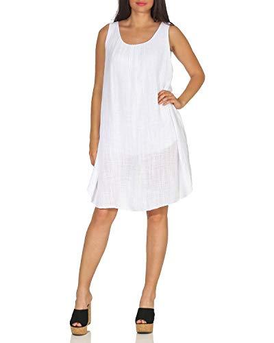 ZARMEXX DK105 Damen Sommerkleid Schulterfreies Strandkleid Minikleid Freizeit Partykleid weiß One Size (36-42)