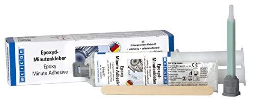 WEICON - Pegamento de minutos epoxi con boquilla mezcladora de 24 ml de doble jeringa de 2 componentes, resina epoxi