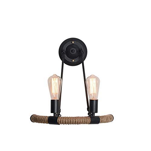 Luz de pared retro cuerda de cáñamo hierro arte luz de pared sala de estar pasillo dormitorio cabecera baño espejo faros aplique pared simple moderno fácil instalación lámpara de pared
