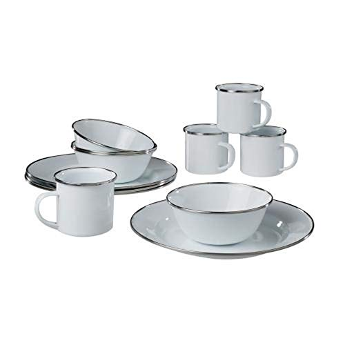 A.Blöchl Hochwertiges 12 teiliges Emaille Kochset Western für 4 Personen (12 teilig/Weiß)