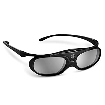 BOBLOV DLP Link 3D Glasses Active Shutter 144Hz Rechargeable for All DLP-Link 3D Projectors, Can't Used for TVs, Compatible with BenQ, Optoma, Dell, Acer, Viewsonic DLP Projector (Black- 1Pack)