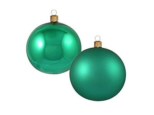 Confezione da 8 Pezzi Sfere in Vetro 70mm Lucido/Opaco Color Verde 8pz | LAVORATE A Mano | Verde | Palle di Natale | Decorazioni Natalizie | Decorazioni Albero di Natale - Diametro: 7cm