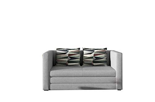 Schlafsessel Sofa mit Schlaffunktion ohne Bettkasten, Couch für Wohnzimmer, Schlafsofa Federkern Sofagarnitur Polstersofa Wohnlandschaft mit Bettfunktion - GULIA (Hellgrau (Sawana 21+ Lima 67))