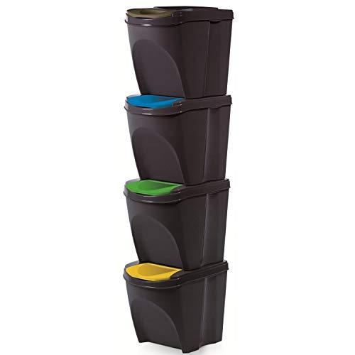 Prosperplast Juego de 4 Cubos para Reciclar la Basura, 20L Cada Cubo, en Color Blanco, Gris, o Antracita. (Antracita)