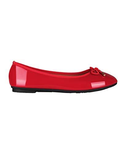 KRISP Damen Klasssische Ballerinas Lack Balerinaschuhe Flach Damenschuhe;Rot;40;3701-RED-7