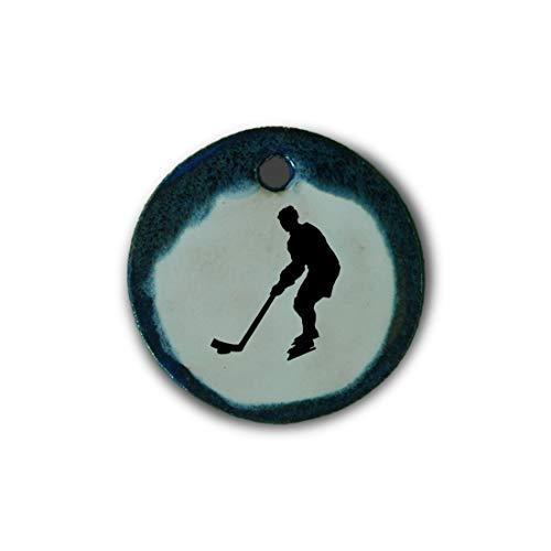 """Muy bonito colgante de cerámica """"hockey sobre hielo"""" jaspeado en azul;"""