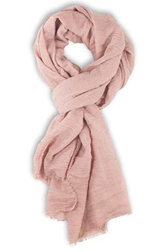fashionchimp ® BASIC-Schal für Damen in angesagten Trendfarben und weichem Fransensaum (Puder)