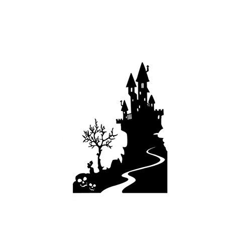 YYH Halloween Vampire château vert étanche PVC décorative stickers muraux autocollants petit moyen grand extra-large vacances noir mise en stickers muraux , black , big