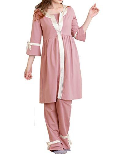 Sweet Mommy マタニティパジャマ 前開き 上下セット 長袖 授乳 ワンピースタイプ ルームウェア ウエスト調節機能 シルクリボン S ピンク