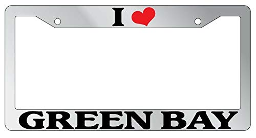 License Plate Frames, METAL License Plate Frame I HEART GREEN BAY Auto Accessory 1325 Universal Car License Plate Bracket Holder Rust-Proof Rattle-Proof Weather-Proof 15x30cm