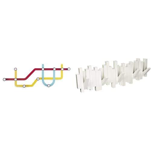 Umbra 318187 370 Subway   Perchero múltiple, multicolor + 318211 660 Perchero Decorativo De Pared Sticks, Blanco