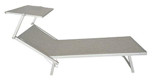 Salone-negozio-online Lettino Prendisole Mare Spiaggia Alluminio con Parasole Grigio