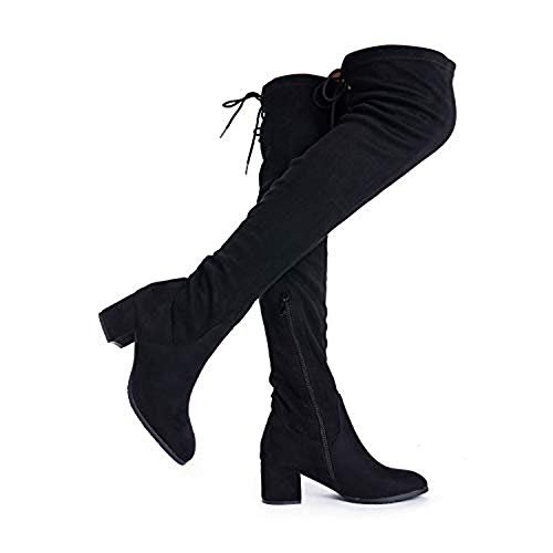 DREAM PAIRS Women's Laurence Black Over The Knee Thigh High Chunky Heel Fashion Boots Size 8 M US