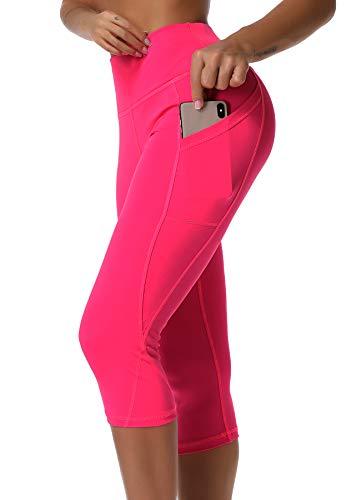 INSTINNCT Damen Doppeltaschen Sport Leggings 3/4 Yogahose Sporthose Laufhose Training Tights mit Handytasche Capris(normal) - Rosa rot XL