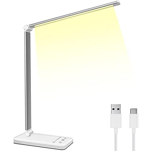 Lampada da Scrivania LED, Lampada da Tavolo Pieghevole 10W, 5 Modalità di Illuminazione, 10 Livelli di...