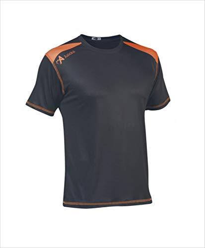 ASIOKA 182/17N Camiseta técnica combinada Unisex para niños de m/Corta, Marengo/Naranja, 12-14