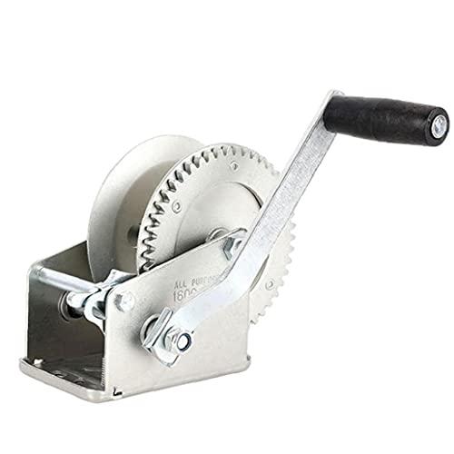 Mano cabrestante manual Torno del barco Negro correa de la manivela del torno con dos vías ajustable del torno de remolque de plata, herramientas de funcionamiento manual