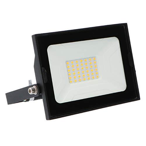 proventa® LED Foco exterior IP65 30W 2.400 lm. Luz blanca neutra 4.000 K. Pantalla de cristal templado. Marco orientable y driver integrado. Protección contra impactos IK06. Clase A+