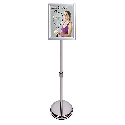 HAITIAN Sign Holder Poster Stand - Fits for 8.5 X 11 Inch Poster, Adjustable Stand Height, Poster Frame Revolvable to Either Horizontal or Vertical View Display, Metal Material Color Silver