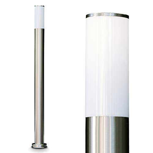 Außenleuchte Caserta, moderne Sockelleuchte aus Edelstahl und Kunststoff-Scheiben, Wegeleuchte 110 cm, Gartenlampe mit E27-Fassung, max. 15 Watt, Gartenbeleuchtung IP44