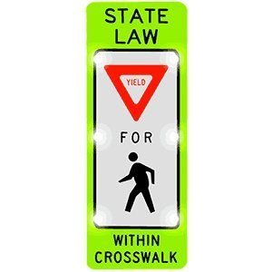 Solar Powered Flashing Over item handling LED Sign FYG State Yield for Law 24 Peds Detroit Mall