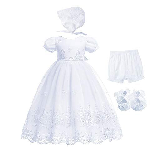 Bow Dream Baby Mädchen Kleider 4Pcs 0-18 Monate Taufbekleidung Taufe Förmlich Abdeckung des Windes Schuhe Hochzeit Rein Weiß 6-12 Monate