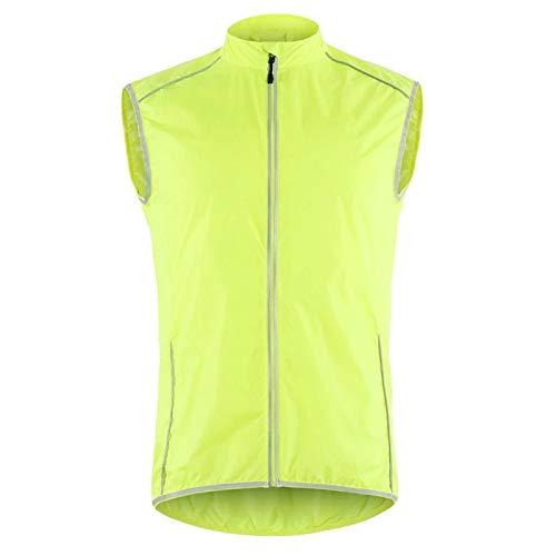 Chaleco de Ciclismo para Hombre, Chalecos de MTB Impermeables a Prueba de Viento, Camiseta de Bicicleta Que Absorbe la Humedad, Camisa de Ciclo sin Mangas de Alta Visibilidad,Verde,XL