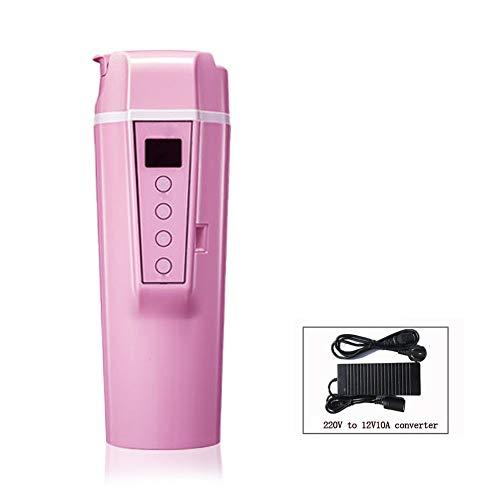 12V24V Cup Chauffage Voiture Voyage Universal, Portable Coffee Cup Voyage température réglable café / thé / lait Thermostat bouilloire, 304 bouteilles en acier inoxydable, 90W chauffage rapide,Rose