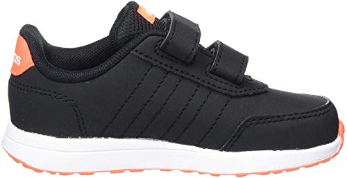 adidas Unisex-Baby VS Switch 2 CMF First Walker Shoe, Core Black/Footwear White/Solar Orange, 27 EU