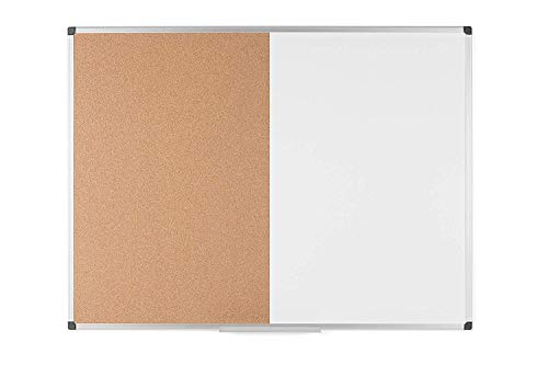 Bi-Office Maya Kombitafel, Halb Magnetisches Whiteboard, Halb Kork-Pinnwand, Aluminiumrahmen, 90 x 60 cm