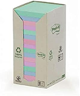 Post-it® Recycled Notes Pastel Assorted Colors 654-1RPT. 3 x 3 in (76 mm x 76mm). 16 pads/Tower, 100 sheets/pad