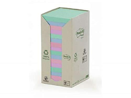 Post-It 654-1RPT - Pack de 16 blocs de notas recicladas , 76 x 76 mm, multicolor