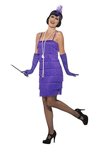 Smiffy'S 45500L Disfraz De Chica Años 20 Con Vestido Corto, Diadema Y Guantes, Púrpura, L - Eu Tamaño 44-46