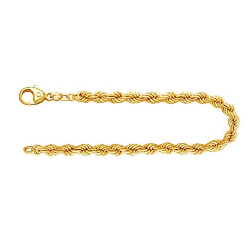 Feines Armband Damen Echt Gold 4.4 mm, Kordelkette hohl 585 aus Gelbgold Goldarmband mit Stempel und Karabinerverschluss, Länge 19 cm, Gewicht ca. 5.6 g, Made in Germany