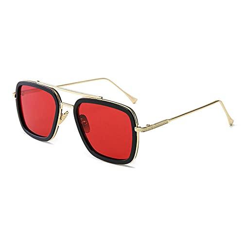 WQZYY&ASDCD Gafas de Sol Gafas De Sol para Hombre Gafas De Sol Cuadradas Retro Hombre-Rojo