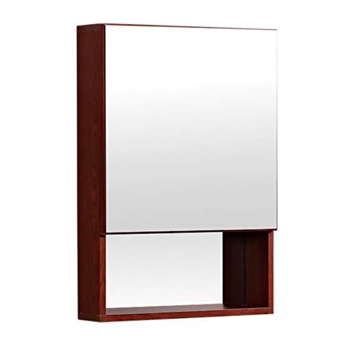 Armoires avec miroir Armoire de toilette Boîte à miroirs murale en aluminium Miroir de salle de bain Avec étagère Casier grande capacité Miroirs de salle de bain ( Color : Brown , Size : 60*13*68cm )