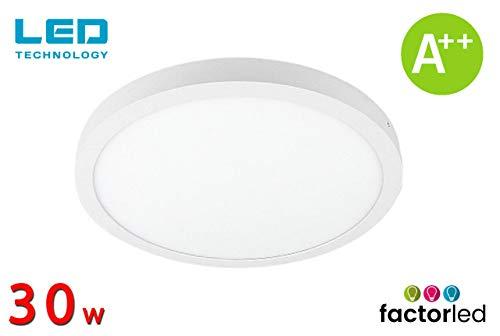 FactorLED Plafón de Techo LED Redondo 30W equivalente a 210W, Panel superficie circular, 3600 lm, Lámpara fácil instalación, 4000K - 6000K, [Clase de eficiencia energética A++] (Luz Fría (6000K))