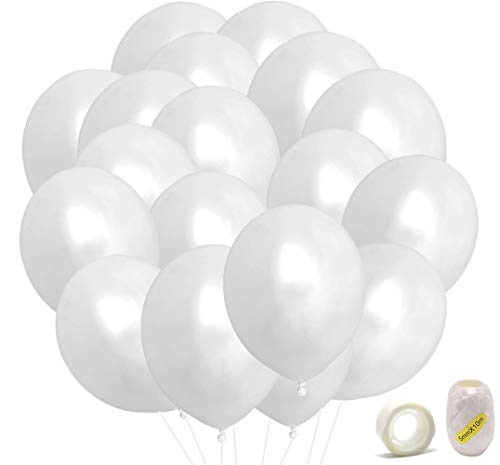 Premium White Balloons, 100 Latex Party Balloons w/Ribbon and Glue Points, 12 Inches Helium White Pearl Balloons Pack Bulk for Wedding Birthday Party Vanlentine's Day Decorations and Arch Decoration