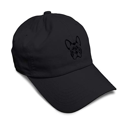 Soft Baseball Cap French Bulldog Silhouette Embroidery Pets Dogs Twill Cotton Dad Hats for Men & Women Buckle Closure Black Design Only