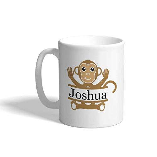 Taza de café personalizada 11oz Nombre personalizado Mono Animal salvaje B Taza de té de cerámica Blanco