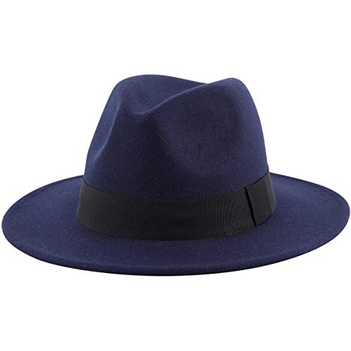 Lanzom Women Wide Brim Warm Wool Fedora Hat Retro Style Belt Panama Hat (Navy Blue, One Size)