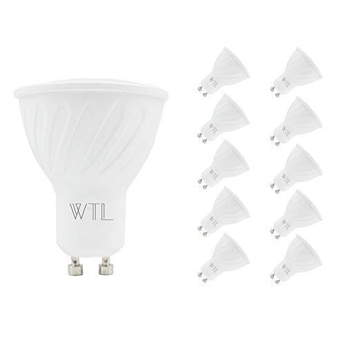 WTL Bombilla LED GU10, 10 unidades, equivalente a 40 W (5 W), 3000 K blanco cálido, 400 lm, base no regulable, luz de riel, foco empotrable