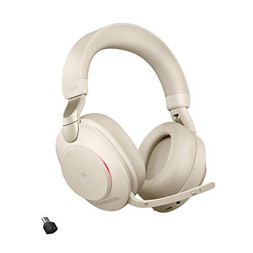 Jabra Evolve2 85 Casque PC Sans Fil avec Station de Charge - Casque Audio Certifié Microsoft Teams Anti-Bruit avec Batterie Longue Durée - Adaptateur Bluetooth USB-C - Beige